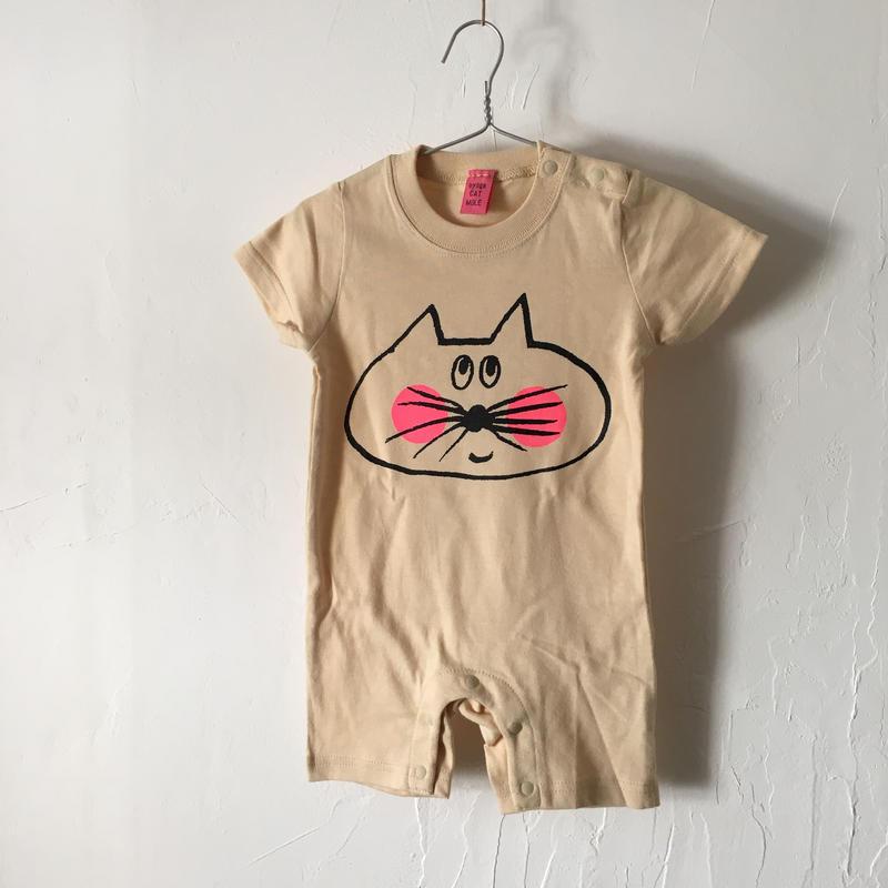 ▲送料無料 80サイズ/半そで ねこもぐらさん ロンパースB 5.6oz uyoga cat mole ナチュラル 1069番目のねこもぐらさん