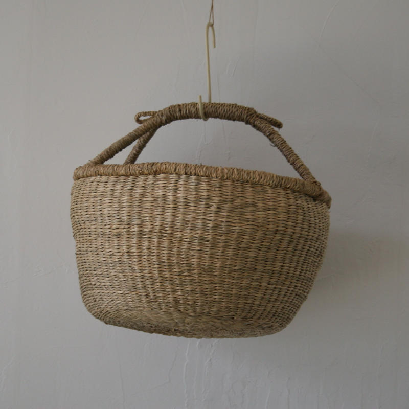ベトナムのまるっこい手づくりかご handmade シーグラス ラウンド バスケットA Lサイズ AL-2