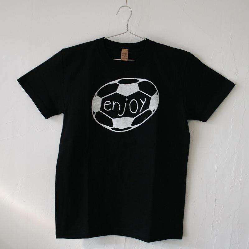 ▲送料無料 150サイズ/半そで uyoga enjoy soccer Tシャツ 5.6oz ブラック