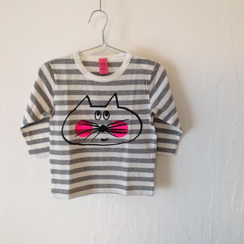 ▲送料無料 80サイズ/長そで ねこもぐらさんしましまTシャツE オーガニックコットン uyoga cat mole グレーしましま (ボーダー) ほっぺあり 888番目のねこもぐらさん