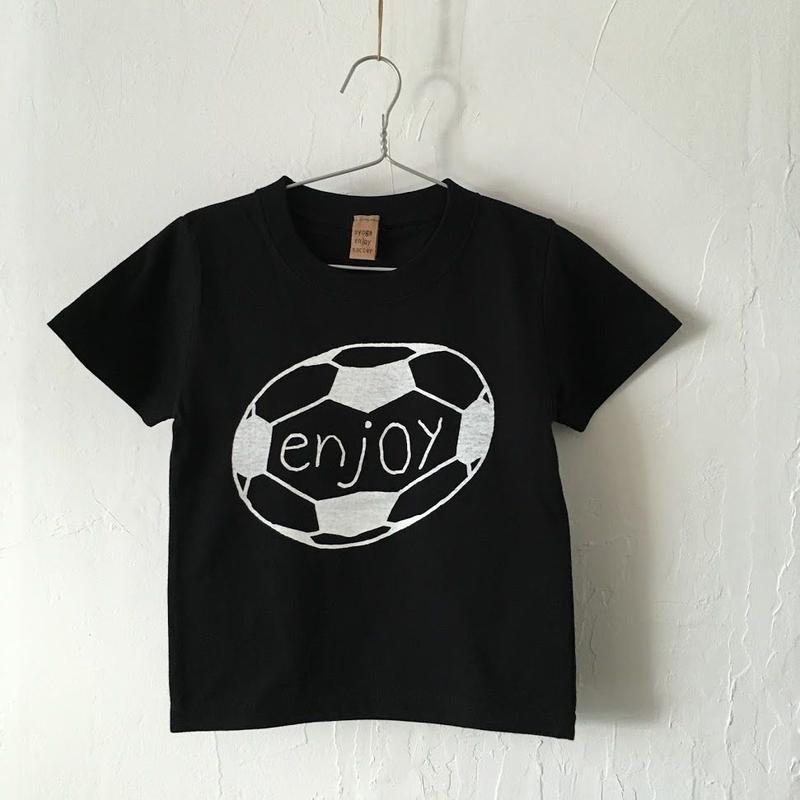 ▲送料無料 100サイズ/半そで uyoga enjoy soccer Tシャツ 5.6oz ブラック