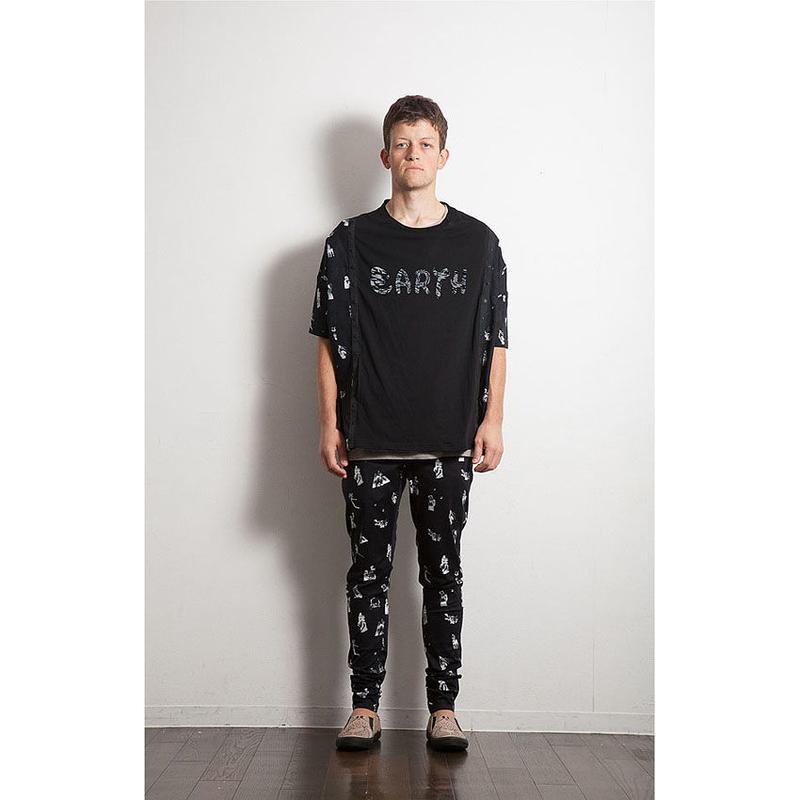 コラージュ総柄2wayカーデTシャツ