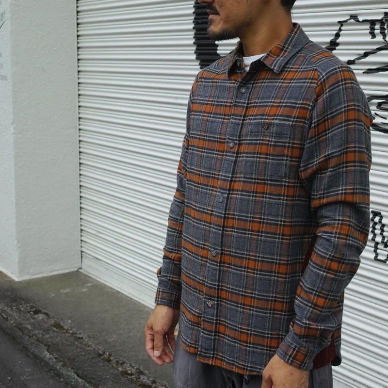 White Mountaineering CHECK FLANNEL CONTRASTED SHIRT