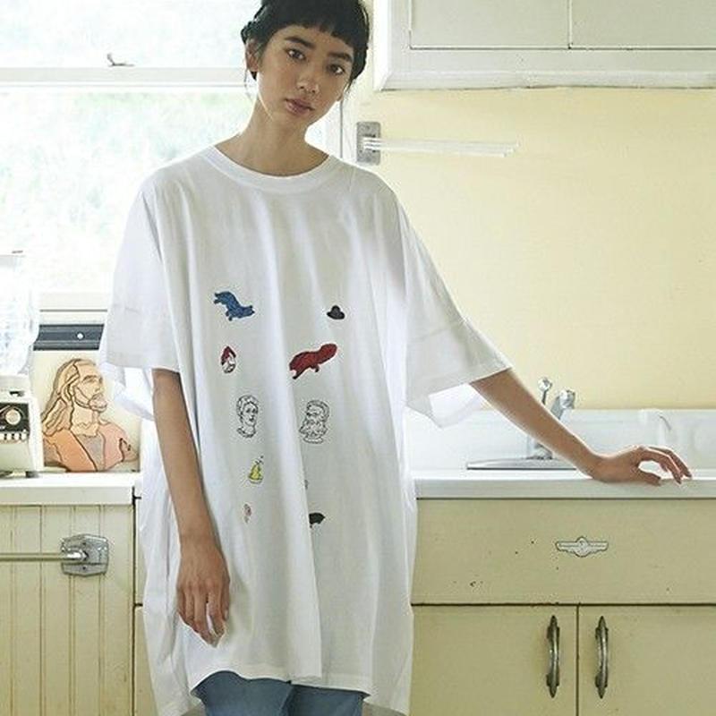 STOF 静物刺繍ビッグTシャツ