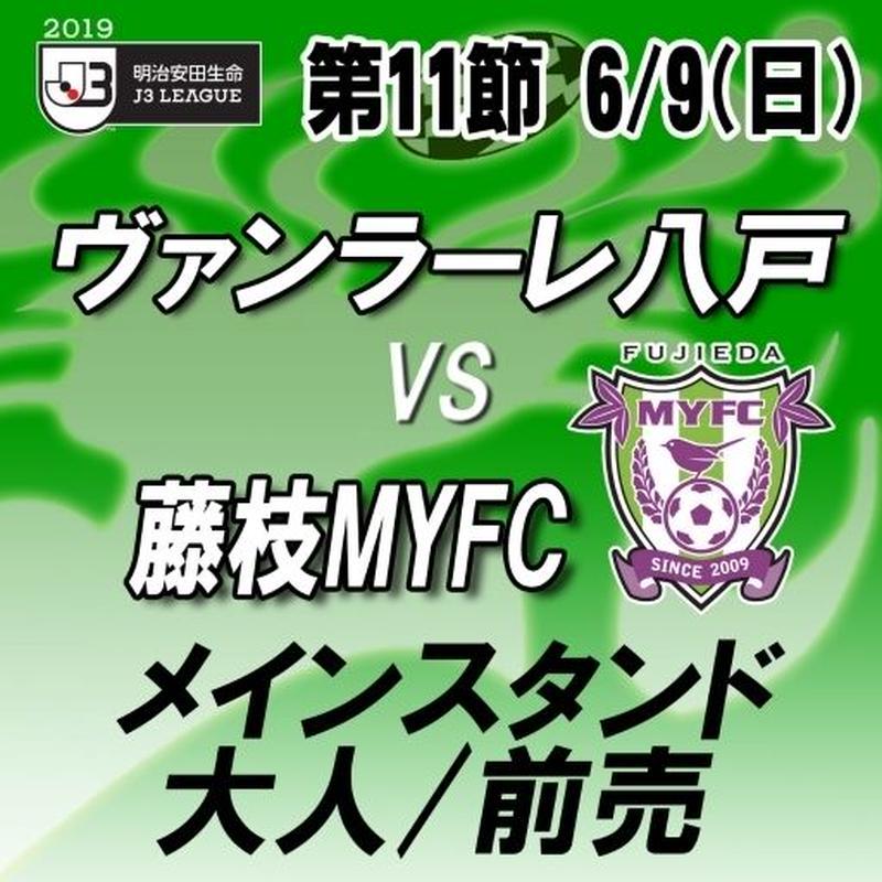 2019年6月9日(日)J 3第11節ヴァンラーレ八戸vs藤枝MYFC メインスタンド 大人/前売