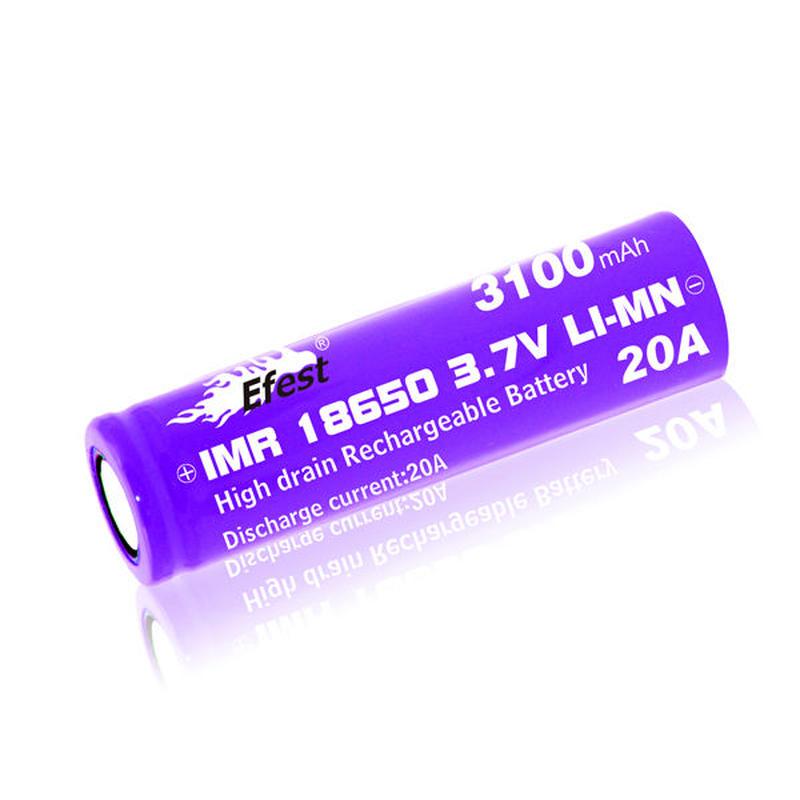 Efest IMR 18650 バッテリー 20A  3100mah 3.7V フラットトップ