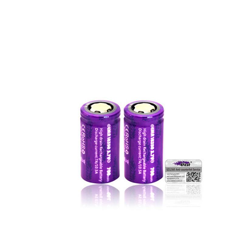 Efest IMR 18350 バッテリー 10.5A 700mah 3.7V フラットトップ