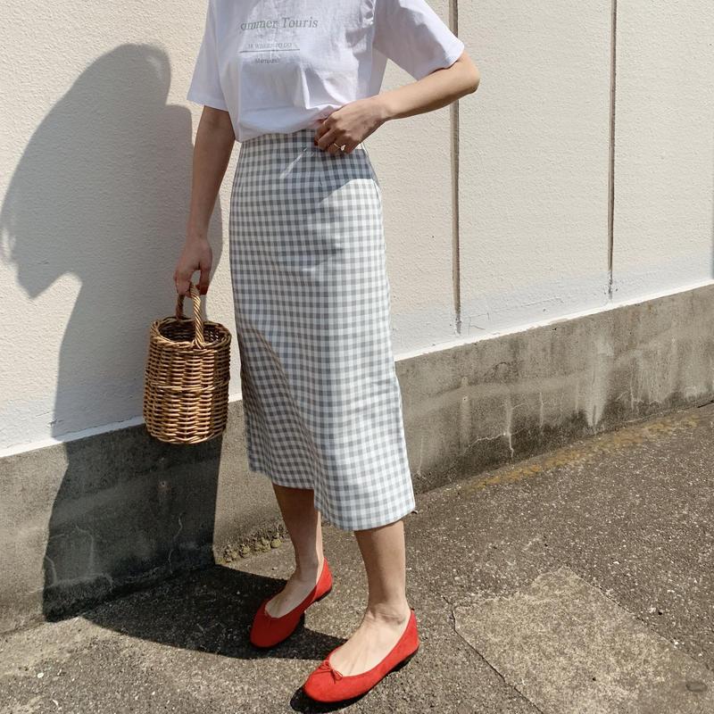 【即納】gingham skirt[blue]