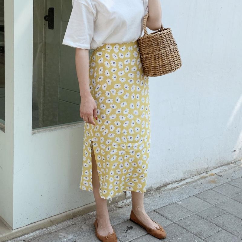 retro flower skirt[yellow]