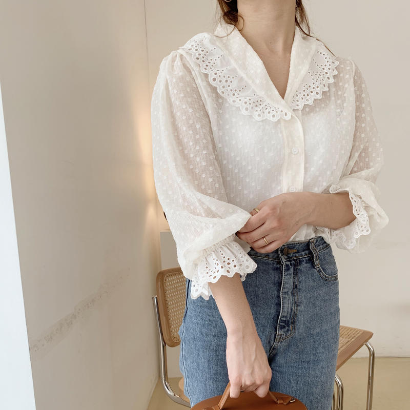 lace dot blouse[cream]