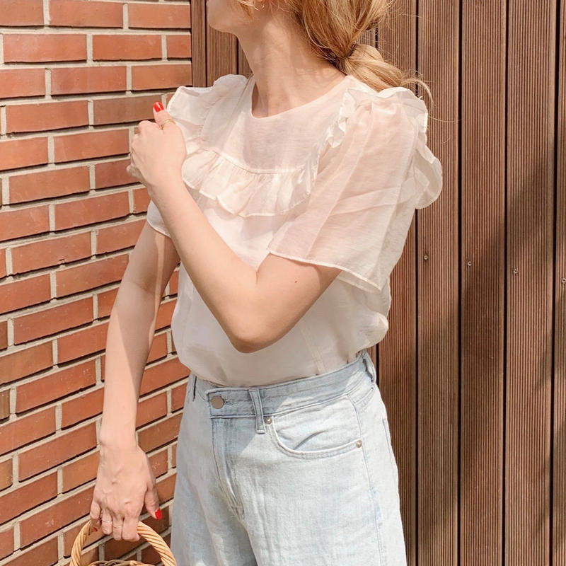 frill see-through blouse[baby pink]
