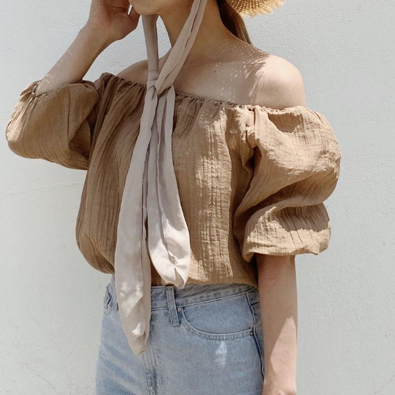 puff sleeve blouse[brown]