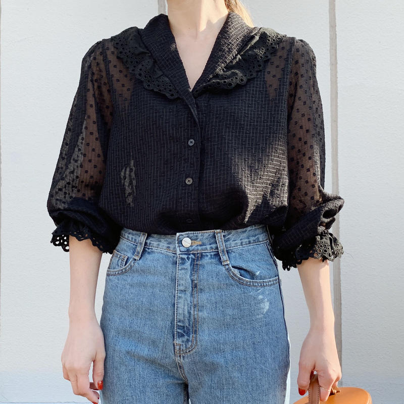 lace dot blouse[black]