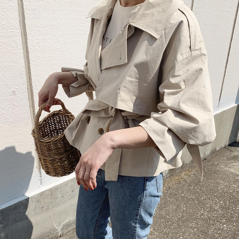 【即納】short trench jacket[baige]