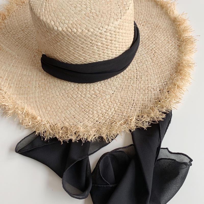 ribbon raffia hat[black]