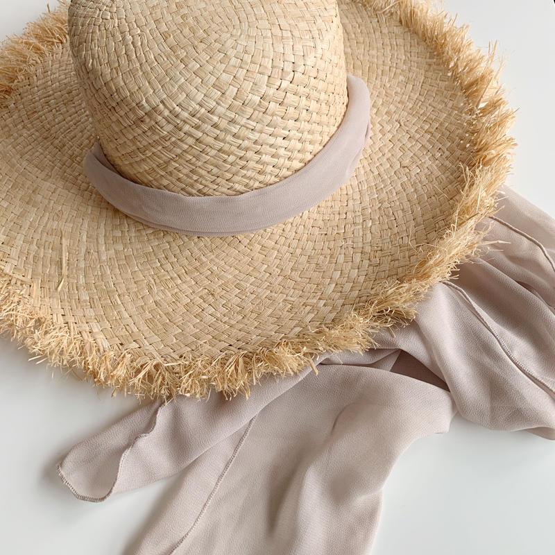 ribbon raffia hat[gray beige]