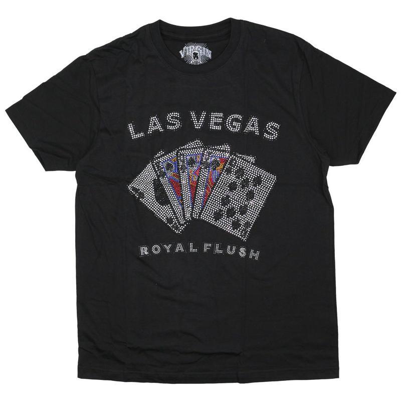 ラインストーン トランプTシャツ Las Vegas Royal Flush