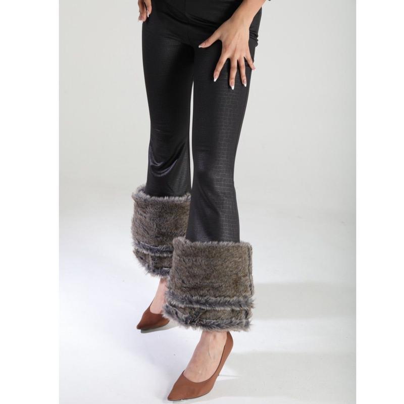 裾ファーパンツ (gray)