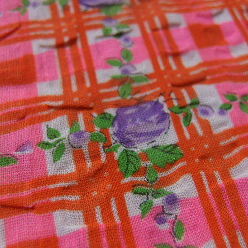 #429 レトロな紫の薔薇60年代格子柄