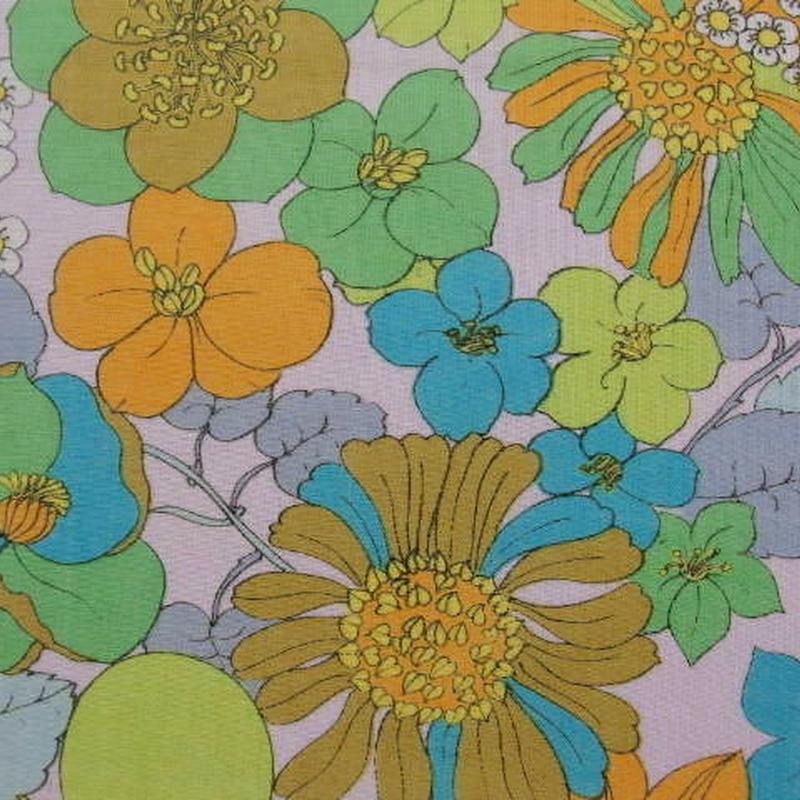 #421 レトロなレトロな色の花たち柄