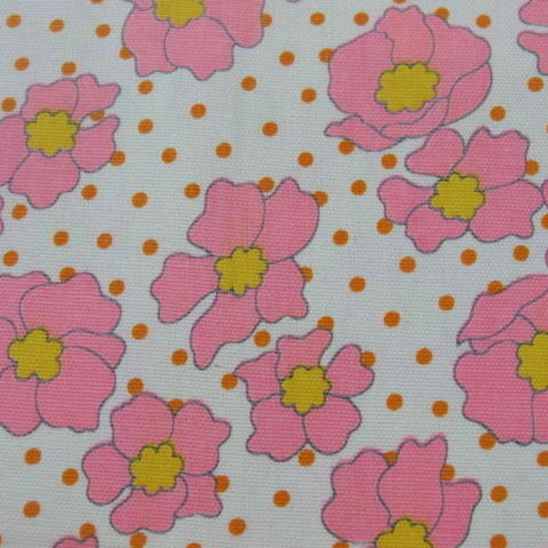 #420 レトロなピンクの花の生地