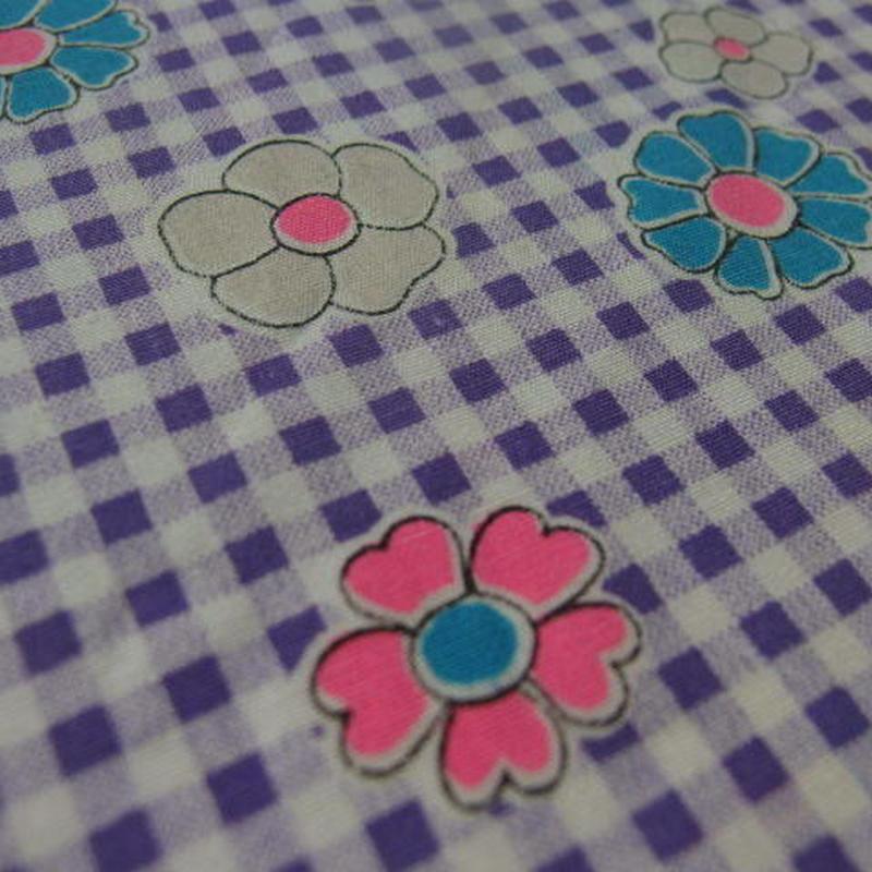 #431 レトロな可愛い花と紫の格子柄