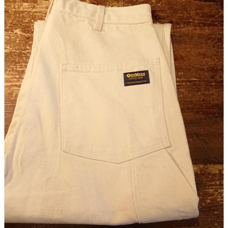 【 80s~  OSHKOSH 】 White cotton  work pants.