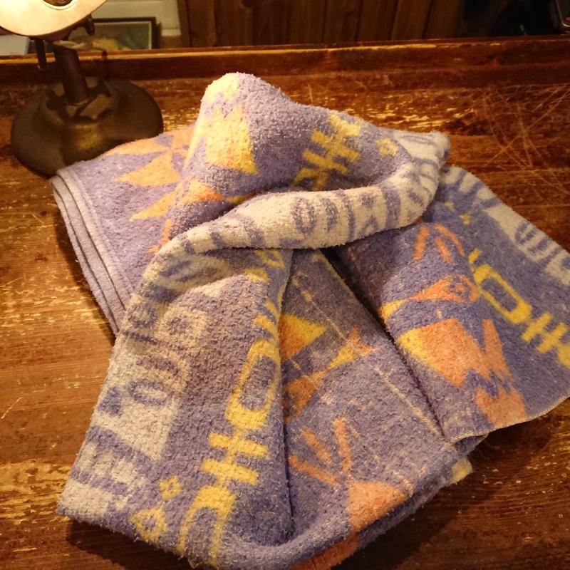 ~1960s  Tipi, totem pole pattern  Blanket.