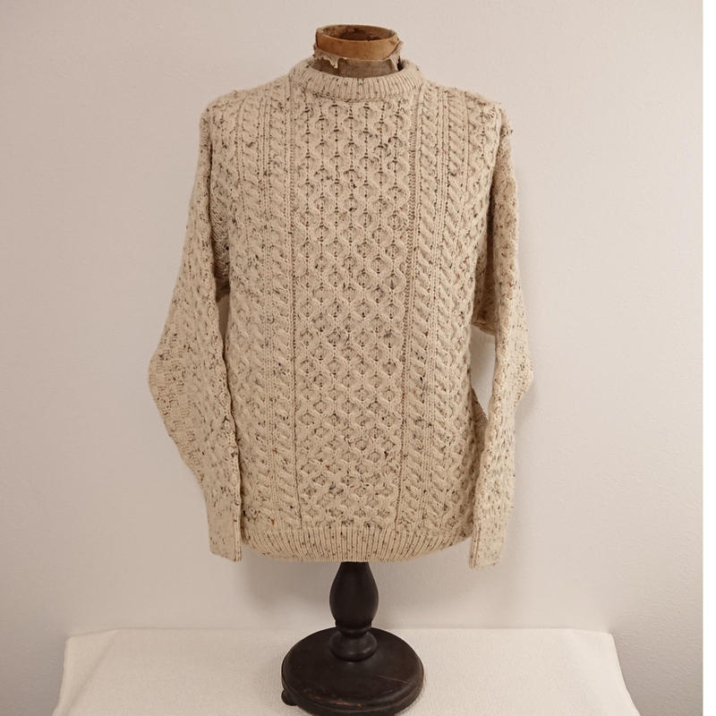 【 CRIOS KILDRE IRELAND 】Wool knit fisherman's sweater.