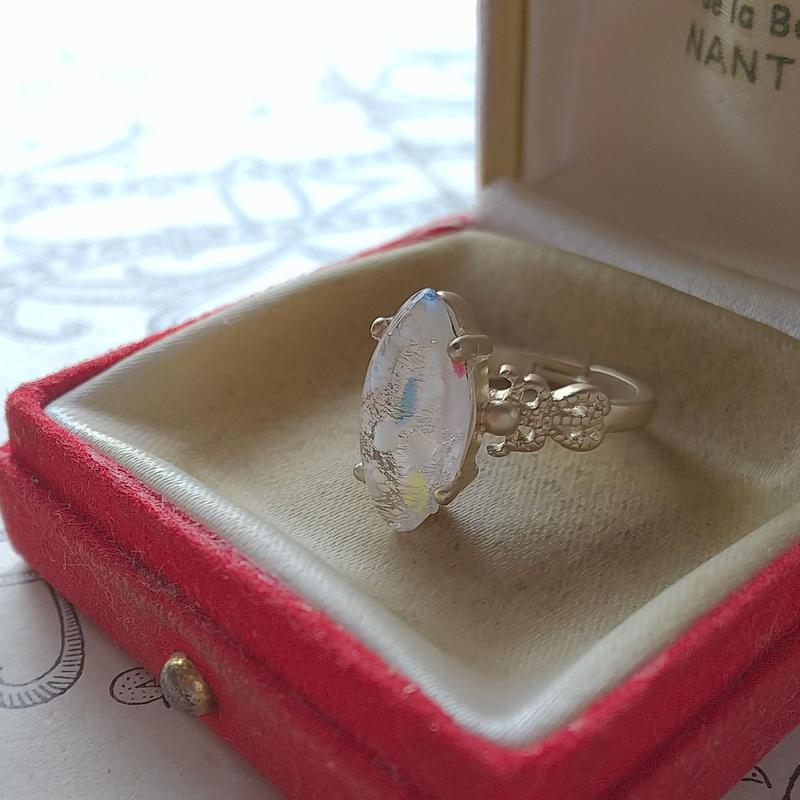 ヴィンテージ Multipul/Lemon-Blue White-Silverクラシカル指輪