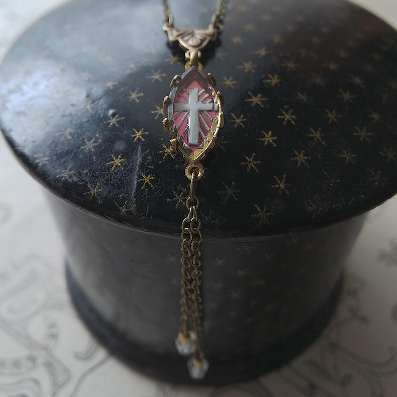 ヴィンテージ VitrailーCrossインタリオ/Old Czech Beads ネックレス
