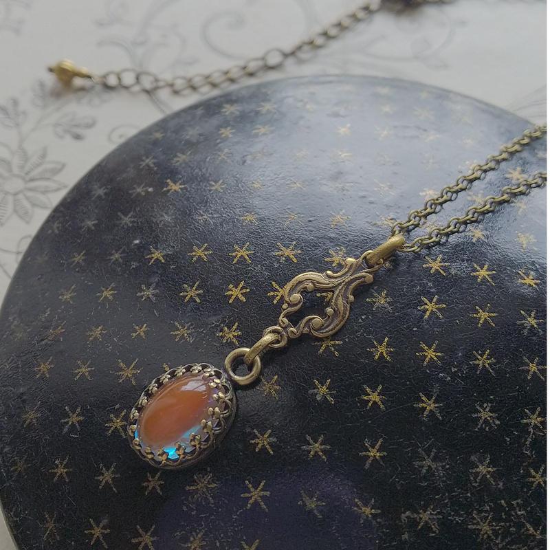 Antiqueサフィレット(10×7ミリ)AntiaueGold/ArtNouveau ネックレス