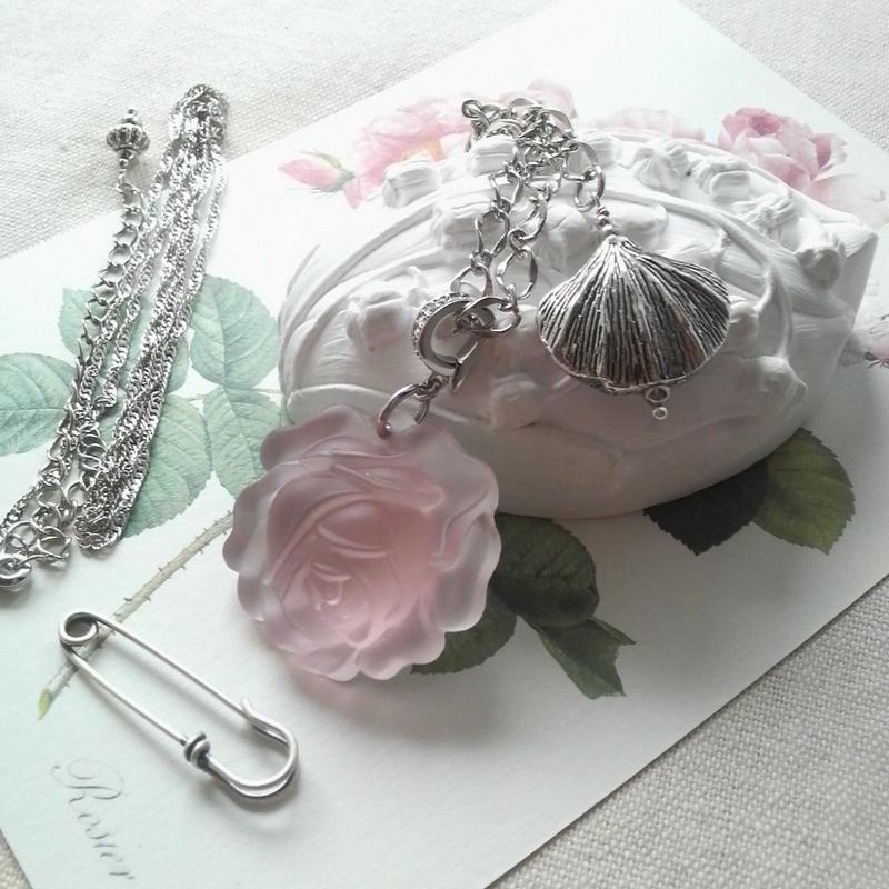 ヴィンテージ レア Silkローズ薔薇 3wayシルバーネックレス