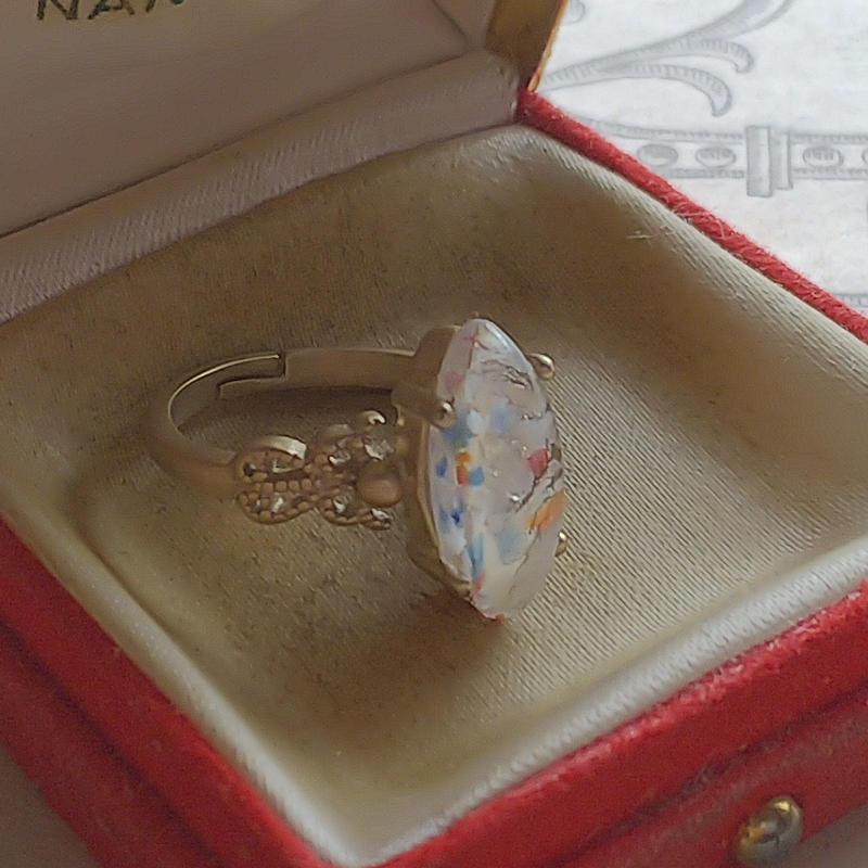 ヴィンテージ Multipul/Orange-Blue White-Silverクラシカル指輪