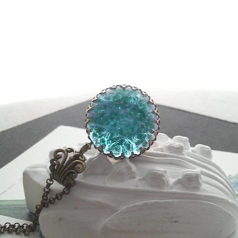 ヴィンテージ Blue/AquaGreen大粒 ネックレス