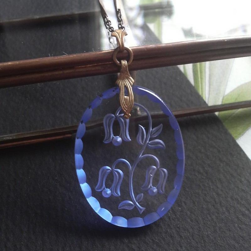 ヴィンテージ Blue釣り鐘草(35×26ミリ)ロングネックレス