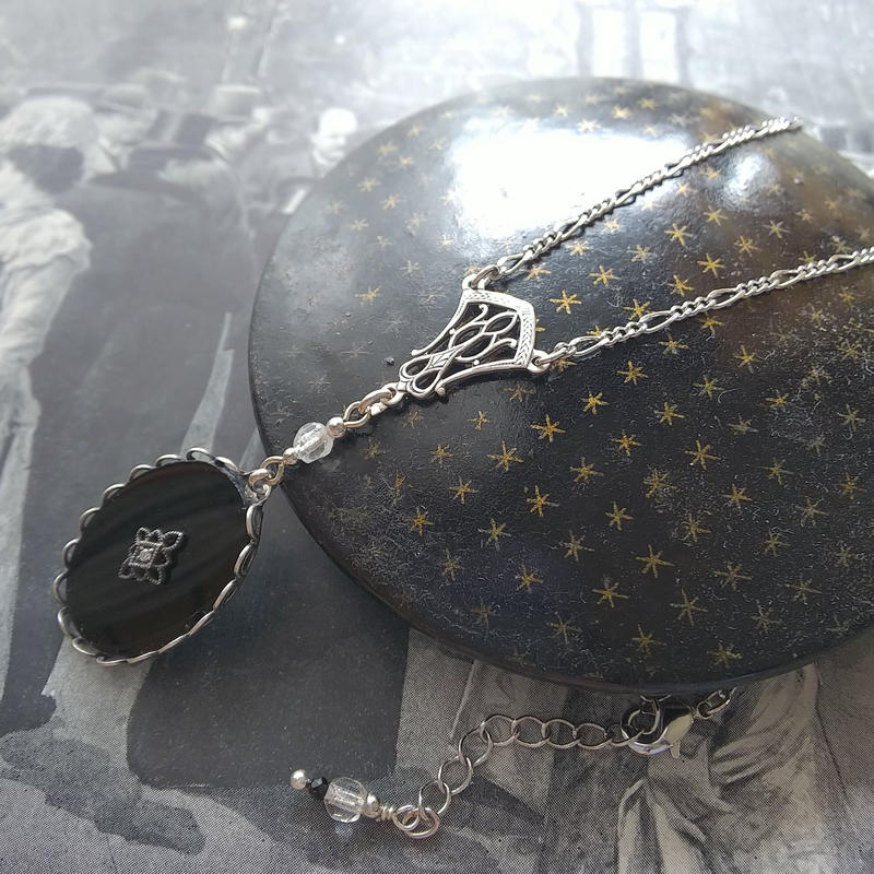 Antique Black/Crystal-ArtDeco /ブラックスピネル ネックレス