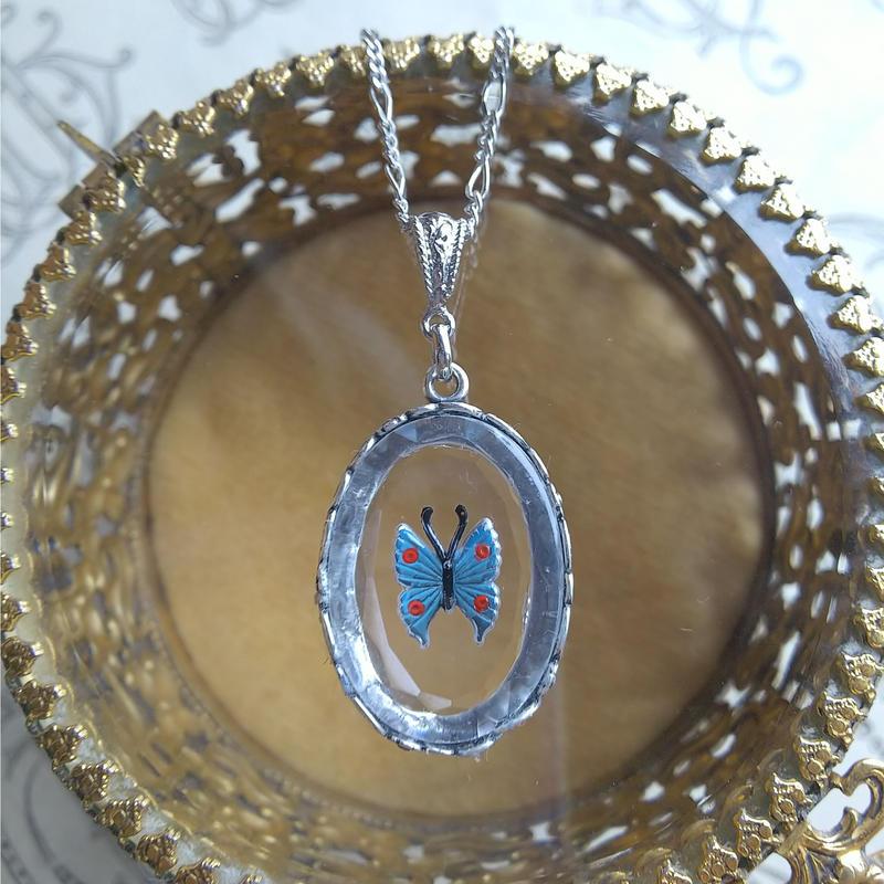 ヴィンテージ 蝶(Blue) 花葉Silverネックレス