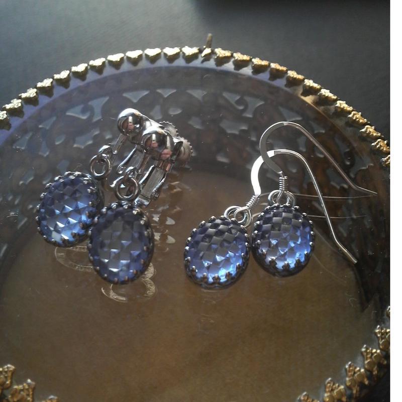 ヴィンテージ Luminescent・Sapphire-Lattice イヤリングorピアス(Silvr925)