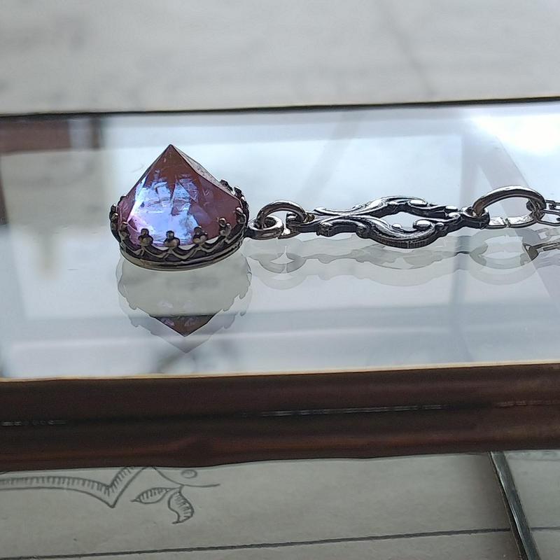 Antiqueサフィレット Purple(9.6ミリ)antiqueSilverネックレス