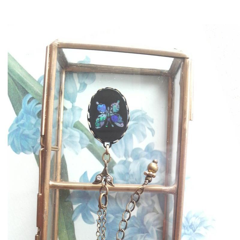 ヴィンテージ Blueパール蝶/Blackグラス ネックレス