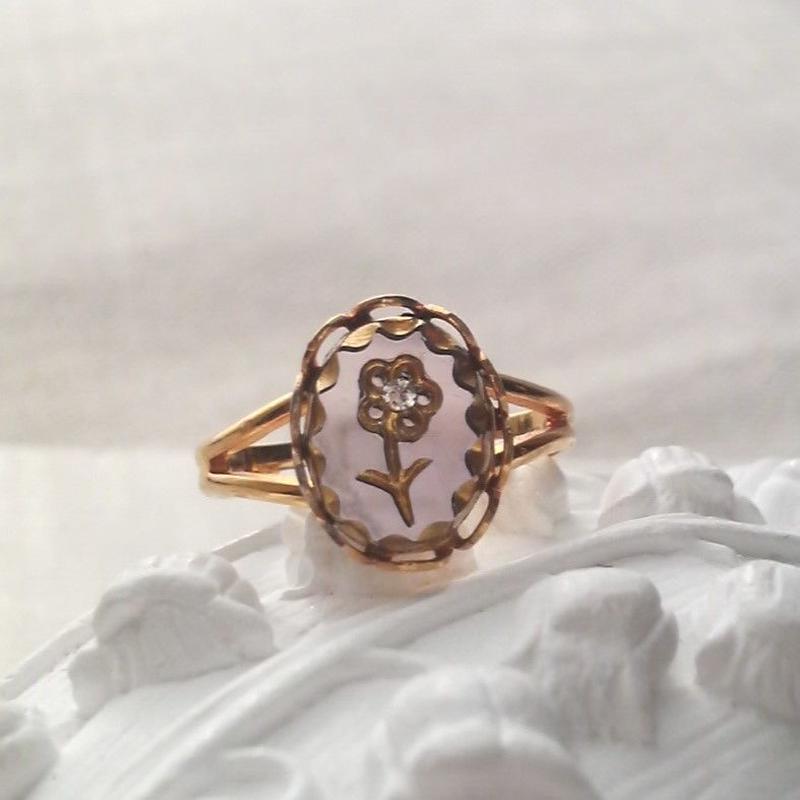 ヴィンテージ ライトアメジストflower 指輪