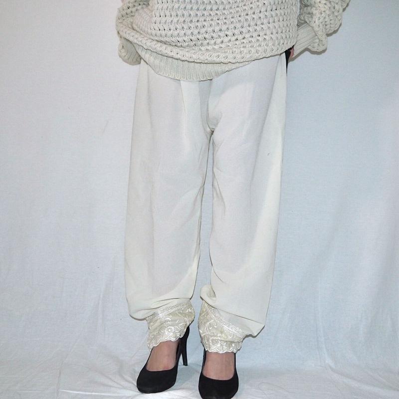 Embroidery  Hem Lace Pants
