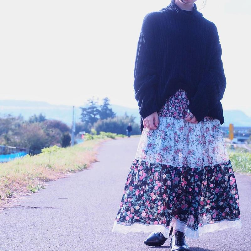 bonjour Flower×Flower Skirt