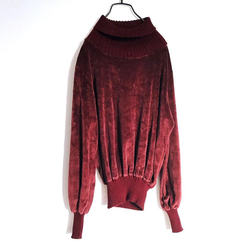 Velveteen×rib Turtleneck Knit