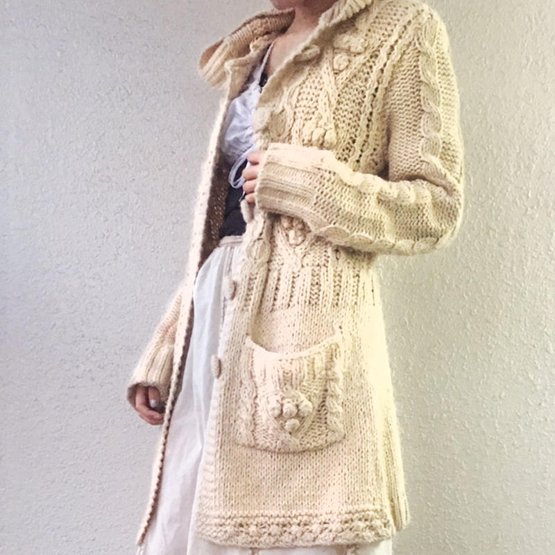 Cable long cardigan