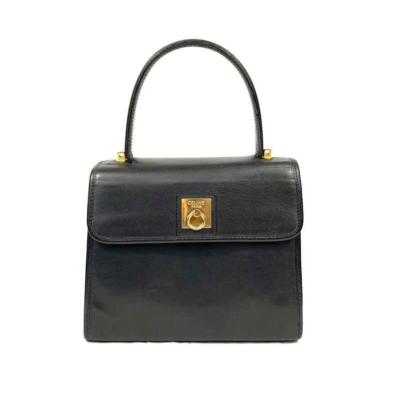 CELINE セリーヌ ガンチーニ ハンドバッグ ブラック vintage ヴィンテージ オールドセリーヌ