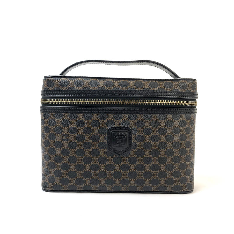 CELINE セリーヌ マカダム ブラゾン バニティバッグ ブラック vintage ヴィンテージ オールドセリーヌ ハンドバッグ