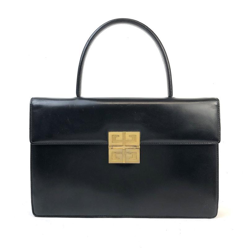 GIVENCHY ジバンシィ ロゴ 金具 ハンドバッグ ブラック vintage ヴィンテージ オールド