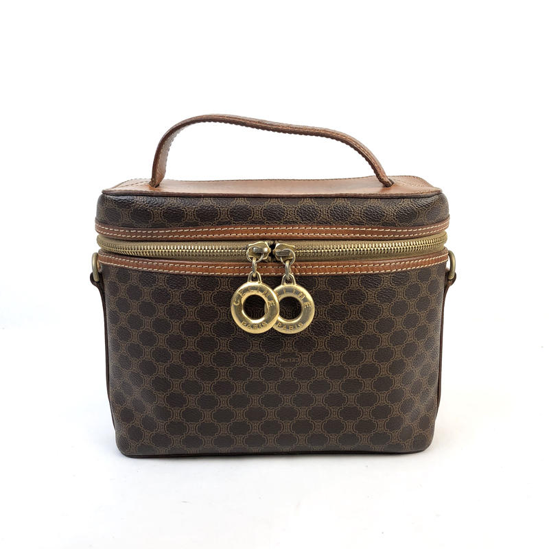 CELINE セリーヌ マカダム サークル バニティバッグ ブラウン vintage ヴィンテージ オールドセリーヌ ハンドバッグ